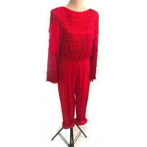 Vintage red fringe jumpsuit romper